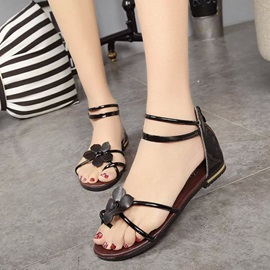 PU Ring-Toe Covering Heel Flat Sandals
