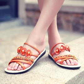 Boho Applique Slingback Flat Sandals