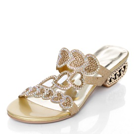 Rhinestone Strange Heel Slip-On Sandals