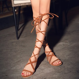 Suede Covering Heel Lace-Up Roman Sandals
