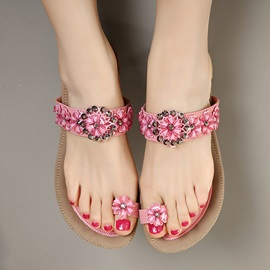 Jeweled Ring-Toe Flat Sandals