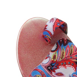 Boho Printed Ring-Toe Flat Sandals