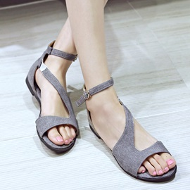 Solid Color Open-Toe Covering Heel Flat Sandals
