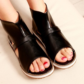 Solid Color PU Back-Zip Flat Sandals