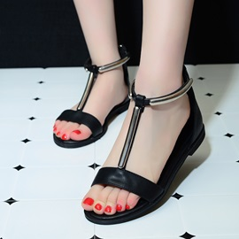Simple Style T-Strap Back-Zip Flat Sandals