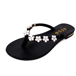 Flowers Applique Thong Flip-Flops