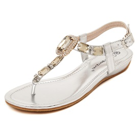 Crystal Thong Buckles Flat Sandals