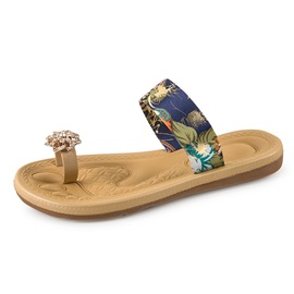 Floral Printed Ring-Toe Beach Sandals