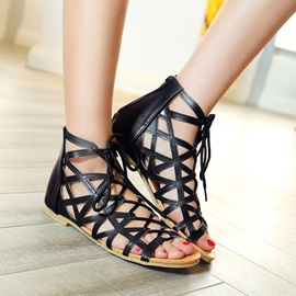 Strappy PU Lace-Up Flat Sandals