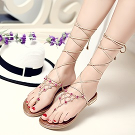 Rhinestone Thong Lace-Up Flat Sandals