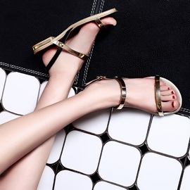 Metallic Open-Toe Flat Sandals