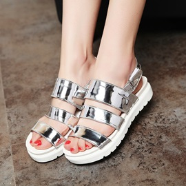 Metallic Open-Toe Velcro Flat Sandals