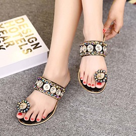 Boho Beaded Ring-Toe Flat Sandals