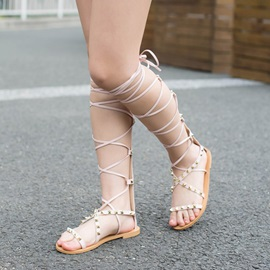 PU Rivets Back-Zip Lace-Up Roman Sandals