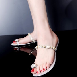 Sweet Beading Ring-Toe Flat Sandals