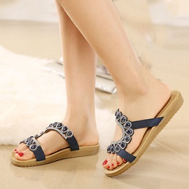 Beaded Open-Toe Flip-Flops