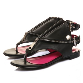 Punk Style PU Zippered Thong Flat Sandals