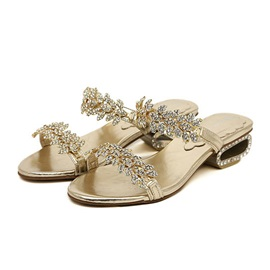 Metallic Rhinestone Open-Toe Sandals