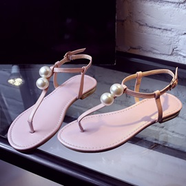 Simple Style Beaded Thong Flat Sandals
