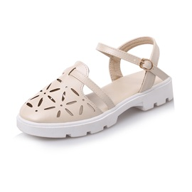 PU Hollow Round Toe Flat Sandals