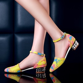 Printed PU Round Toe Ankle Strap Sandals