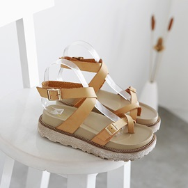 Cool PU Buckles Ring-Toe Sandals