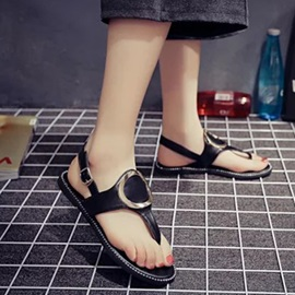 Geometric PU Thong Flat Sandals