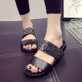Buy PU Sequins Open-Toe Flip-Flops