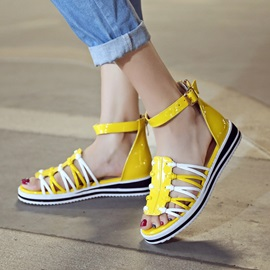 PU Strappy Covering Heel Sandals