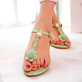 Flowers Embellished Thong Flat Sandals