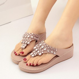 Rhinestone Thread Thong Flat Sandals