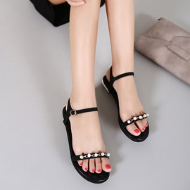 Beads Open-Toe Women's Black Flat Sandals