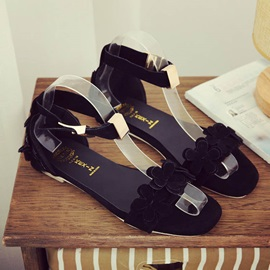 Suede Ankle Strap Flat Sandals