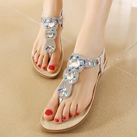 Charming Thong Flat Diamond Sandals