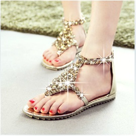 PU Line-Style Buckle Rhinestone Heel Covering Flat Sandals