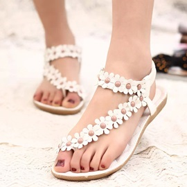 PU Flower Appliques Elastic Band Women' s Flat Sandals