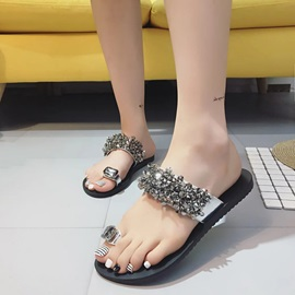 PU Slip-On Rhinestone Ring Toe Women