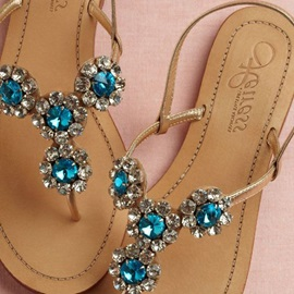 PU Slip-On Rhinestone Women's Thong Sandals