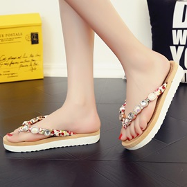 PU Slip-On Thong Rhinestone Flat Sandals for Women