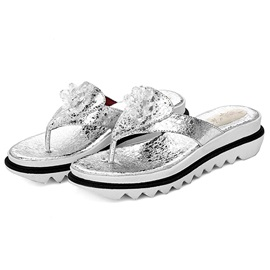 PU Slip-On Glitter Appliques Thong Women's Sandals