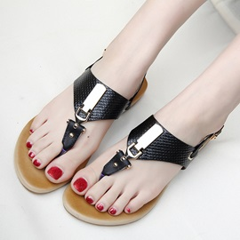 PU Buckle Thong Black and Apricot Women's Sandals