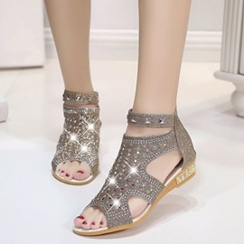 Denim Back Zipper Hollow Rhinestone Rivets Women's Sandals