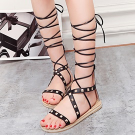 PU Lace-Up Rivets Strappy Heel Covering Women's Sandals