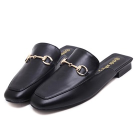 Black PU Slip-On Closed Toe Women's Slide Sandals