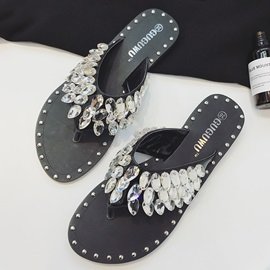PU Slip-On Rhinestone Rivets Slip-On Women's Sandals