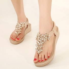 PU Slip-On Rhinestone Thong Sandals for Women