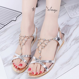 PU Chain Rhinestone Buckle Women's Flat Sandals