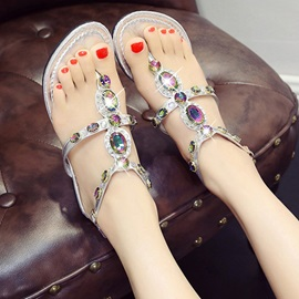 PU Buckle Rhinestone Thong Flat Sandals