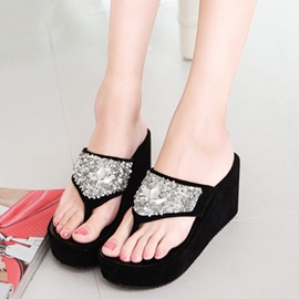 Suede Rhinestone Slip-On Women