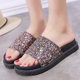 Sequin Slip-On Flat Women's Flip Flops